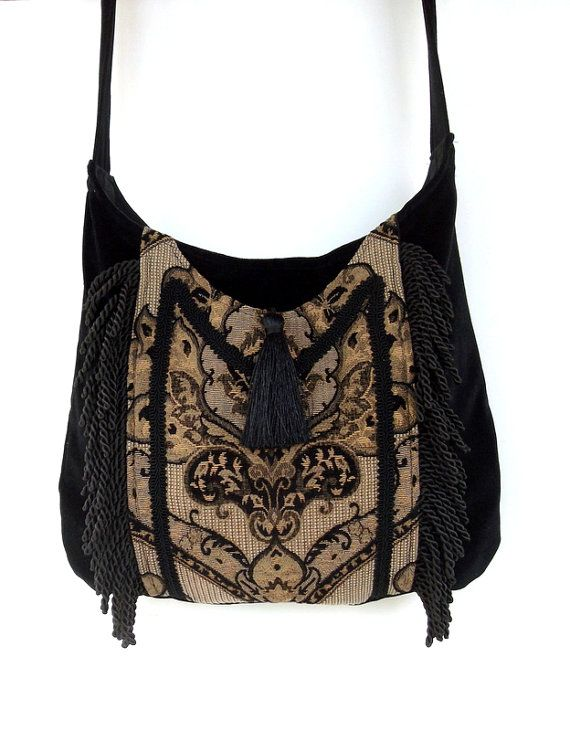 Fringed Gypsy Tapestry Bag  Messenger Renaissance Crossbody Black Velvet Boho Purse on Etsy, $65.00