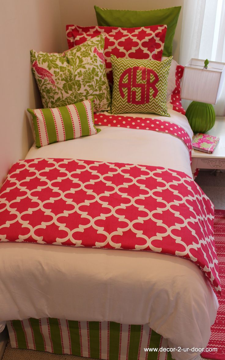 Just Add A Head Board And A Side Board For Bed And Then Couch. Preppy Pink  U0026 Green Designer Teen U0026 Dorm Bed In A Bag Part 44