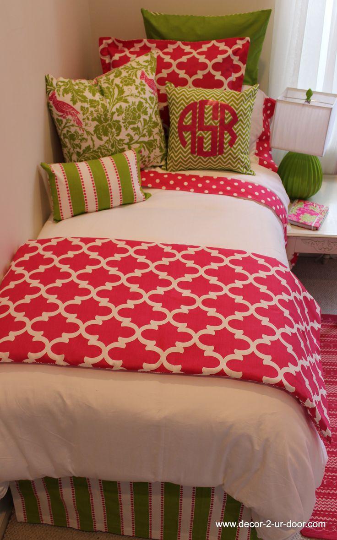 HOT pink and green preppy dorm room bedding www.decor-2-ur-door.com dorm room monograms Pretty preppy dorm bedding