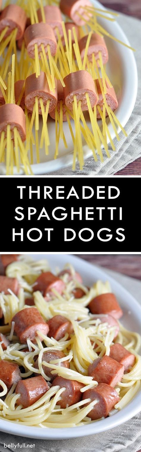 Threaded Spaghetti Hot Dog Bites - don't serve spaghetti with hot dogs. Serve it in hot dogs! These are so much fun and taste great, too!