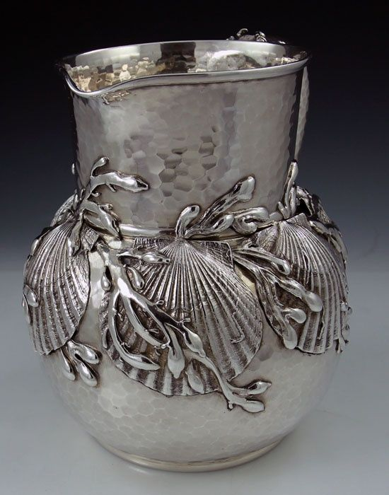 Tiffany antique sterling silver pitcher with applied shells and seaweed