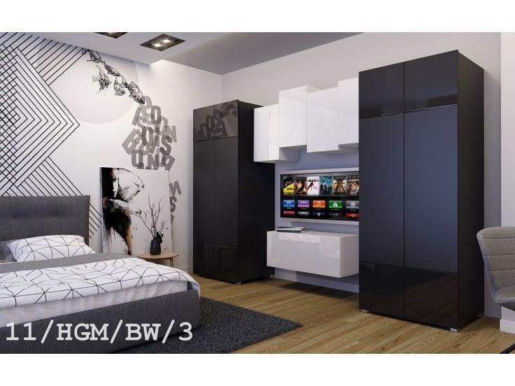 Meblościanka GENUA C11  połysk - #Meblościanki #Meble #furniture #sklepmeble #design #polishfurniture #wardrobe #sleepingroom #blackandwhite #living #home #interior #interiordesign