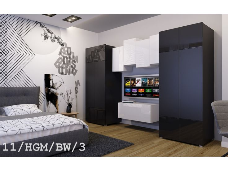 Meblościanka GENUA C11  połysk - #Meblościanki #Meble #furniture #sklepmeble #design #polishfurniture #wardrobe #sleepingroom #blackandwhite #living #home #interior #interiordesign