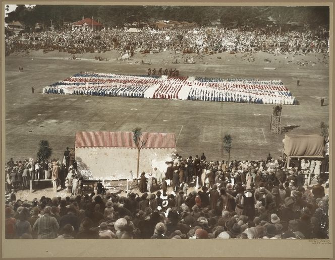 Crown Studios (Wellington) :Photograph of display at Newtown Park during 1927 royal tour
