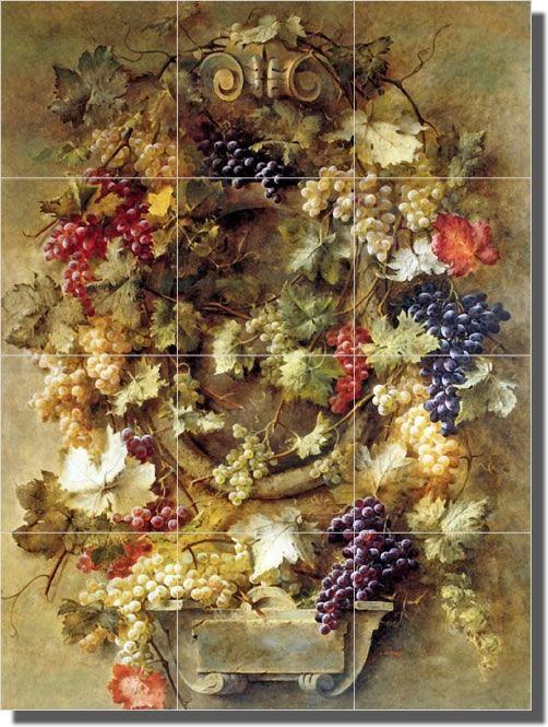 Gibault Grapes Fruit Art Ceramic Tile Mural Backsplash In Home Garden Home Decor Accents Wall Decor