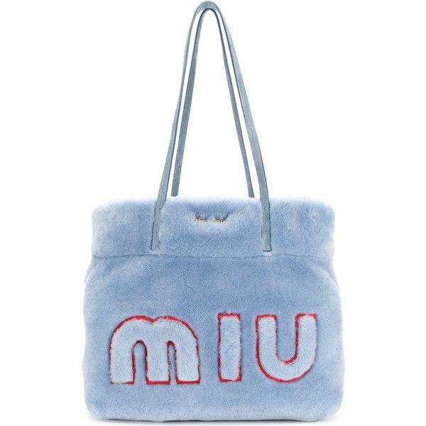 Miu Miu fur logo tote bag ($1,738) ❤ liked on Polyvore featuring bags, handbags, tote bags, blue, top handle handbags, embroidered totes, blue tote, tote purses and oversized tote bags