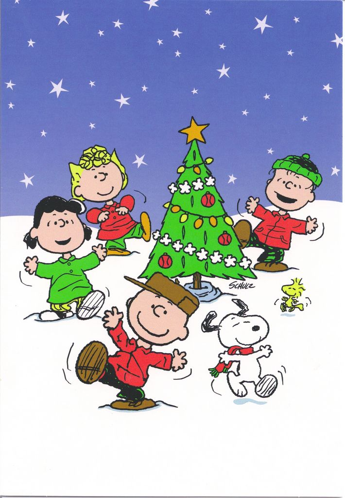 Snoopy & Gang Dancing Around Christmas Tree | by Mailbox Happiness-Angee at Postcrossing