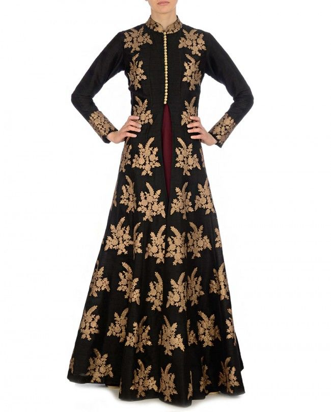 Golden Embroidered Black Jacket with Maroon Dress - Suits - Apparel