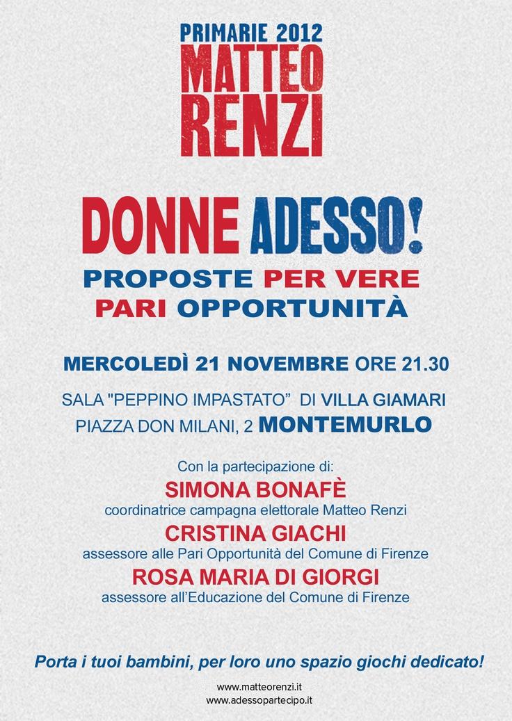 Comitati Renzi, Donne Adesso!  Mercoledì a Montemurlo Simona Bonafè e due assessori del comune di Firenze