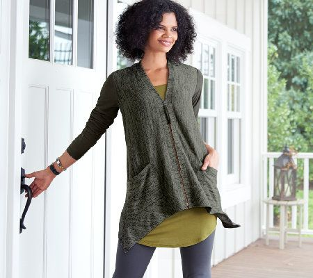 LOGO by Lori Goldstein Knit Cardigan with Faux Suede Details