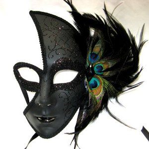 Female Venetian Style Mask with black Sparkles and Peacock Feathers