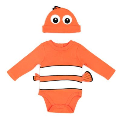 You'll be Finding Nemo at home every time your little one wears this costume body suit! It features bright clownfish stripes and 3D fins, plus a matching hat with large appliqué eyes.