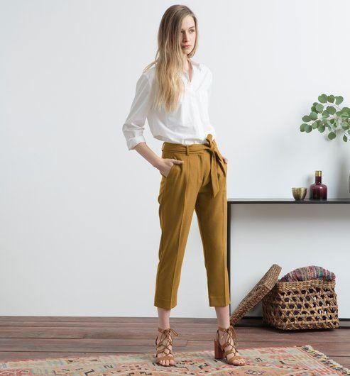 Pantalon à pinces Femme vert olive - Promod