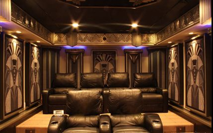 This new jersey home theater living room uses many for Art deco interior design elements