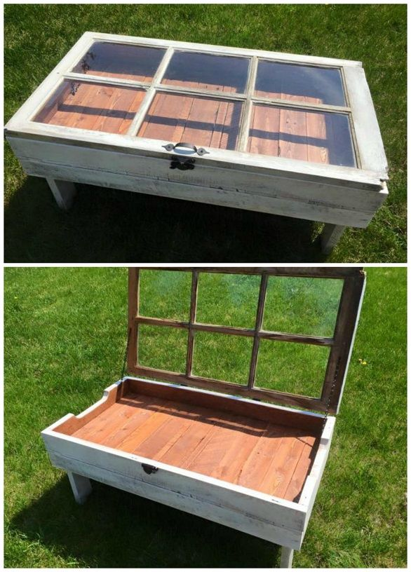 #woodworkingplans #woodworking #woodworkingprojects Here's a gorgeous DIY project for your living room – a window coffee table! It opens so you can store magazines, remotes, and random items that you normally put on top! It is so unique and would be a great conversation piece. My good friend and her husband sell these, you can find them on …