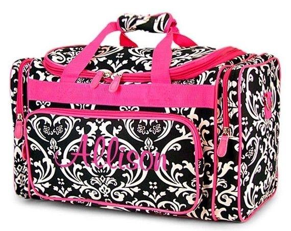 Personalized Duffel Duffle Bag Black Damask Hot Pink by parsik93, $34.99