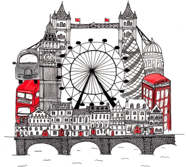 London illustration I made for my friends daughters london themed bedroom