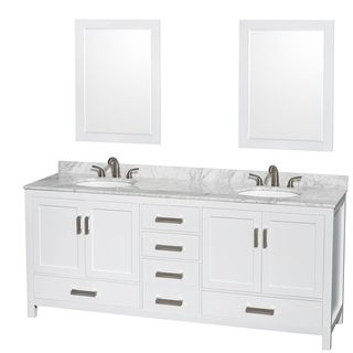 Wyndham Collection Sheffield White 80-inch Double Vanity | Overstock™ Shopping - Great Deals on Wyndham Collection Bath Vanities