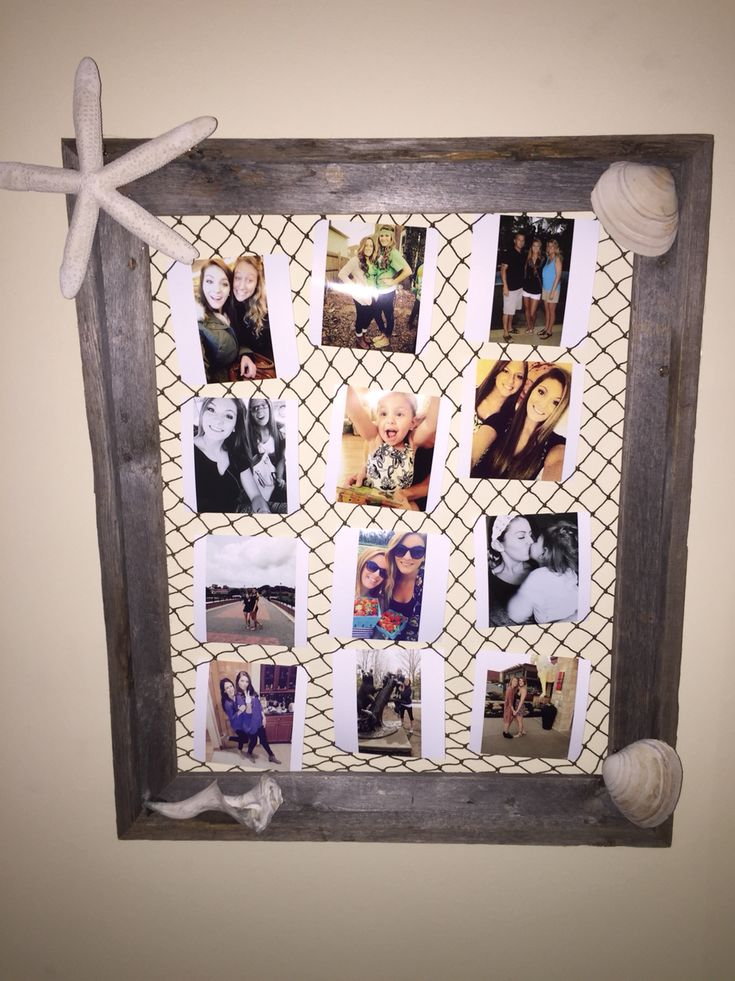 Made this for my beach themed room! All you need is an old, rustic frame or any large frame you have. Used fish netting on the back (ac Moore), printed out pictures to Walgreens (Instagram pics from their app), glued on real shells and a starfish from the craft store. Then tucked the pictures into the netting. Beautiful way to display photos! You can use even smaller pictures if you want to put in more.