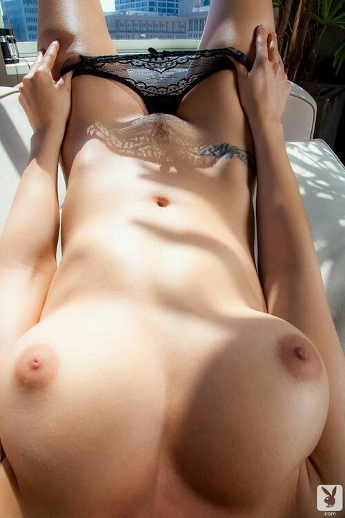 Naked girl with dark nipples