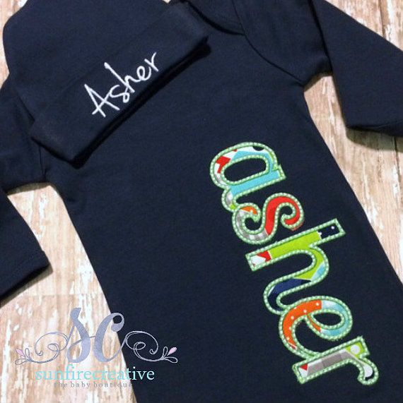 Hey, I found this really awesome Etsy listing at https://www.etsy.com/listing/193718359/baby-boy-coming-home-outfit-sleeper-name