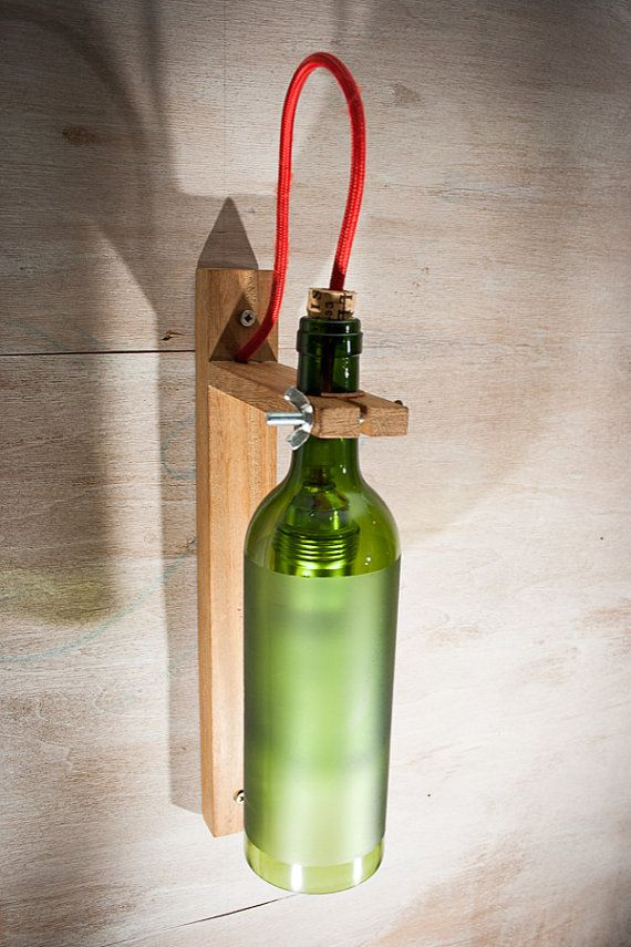 Recycled wine Bottle wall sconces, wood lamp, Customized lamp, wall light, Handmade lamp ...