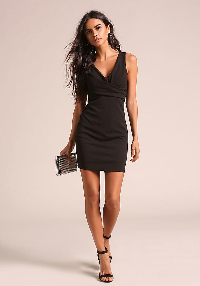 Black Gathered Bodycon Dress