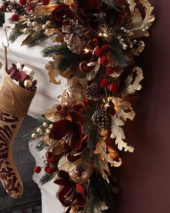 Pre-lit Burgundy & Gold Christmas Garland traditional holiday decorations