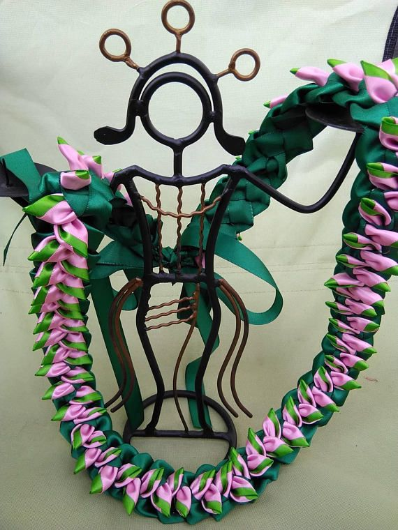 """Heliconia Flat Hawaiian Lei - approx. 37~38"""" long with open end; material: 7/8"""" satin ribbon; color: pink and green. If you are looking for another color please."""