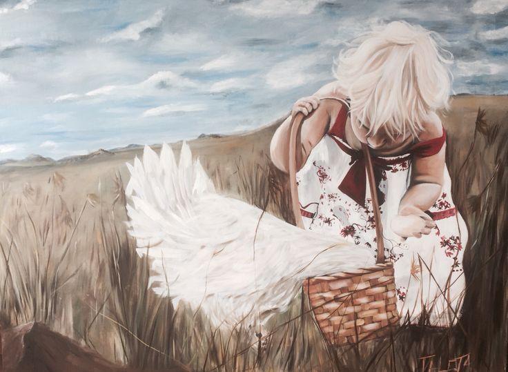 Little Hen  Original oil painting 122x77cm by Taléta