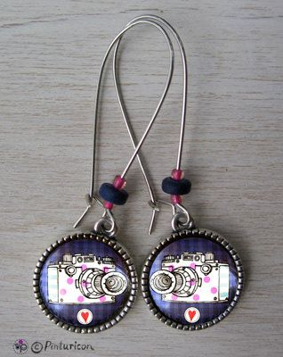 Cabochon Earrings Camera Earrings Dangle Jewelry Camera Jewellery by Pinturicon on Etsy