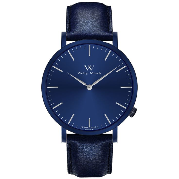 A round blue case with classically curved lugs,elegant hue, the silver hands match the case colors and underscore their prominent design,color-coordinated leather strap, inimitable and upscale watch.