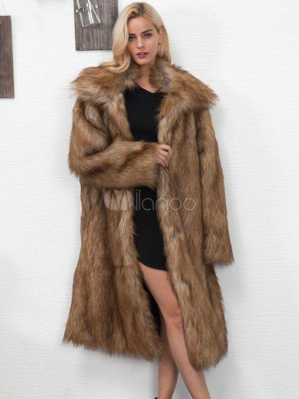 Faux Fur Long Coat Turndown Collar Oversized Brown Winter Coat For Women Fur Coat Long Faux Fur Coat Brown Winter Coat