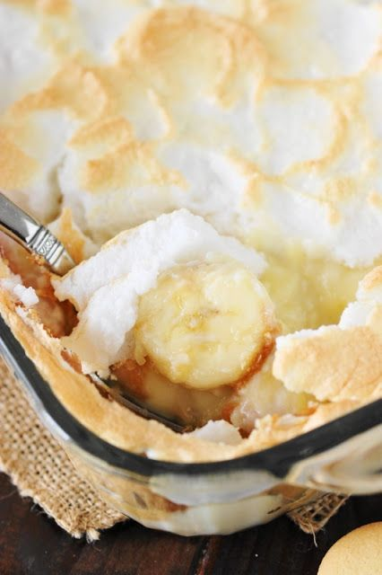 Old-Fashioned Banana Pudding from scratch with homemade pudding and meringue topping