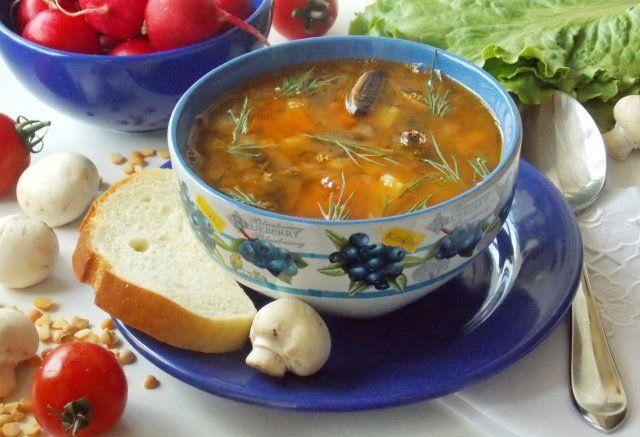 Гороховый суп с грибами и томатом - Шаг 13