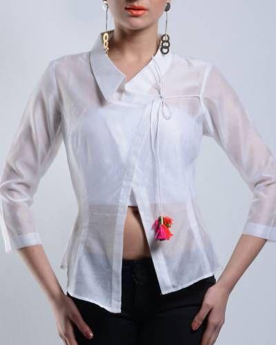 Asymmetrical White Chanderi Top I Shop at :http://www.thesecretlabel.com/ans-by-astha-n-sidharth