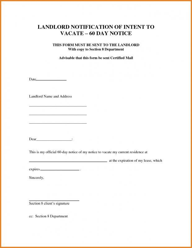 60 Day Notice Letter To Landlord Sample from i.pinimg.com