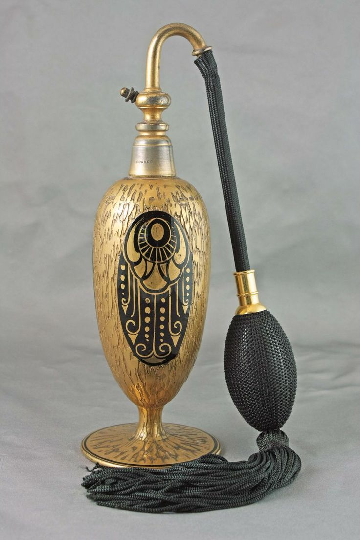 French Art Deco gold and enamel perfume atomizer, circa 1930's.