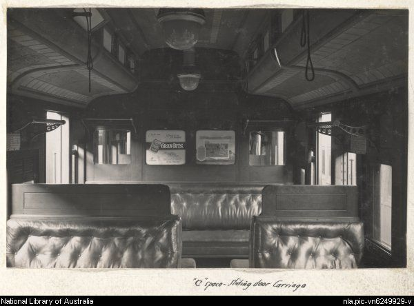Interior Of Train Carriage With A Sign Advertising Gran Bits Cereal Victoria Approximately