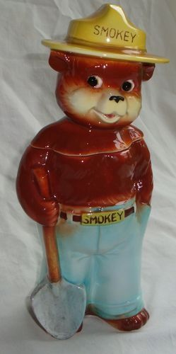 vintage Enesco ceramic Smokey the Bear canister cookie jar Standing with Shovel