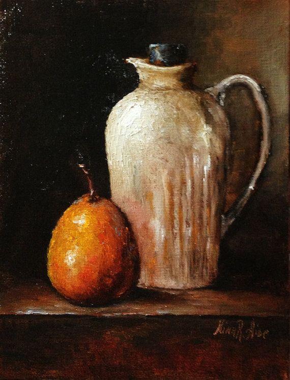 White Jug and Orange Pear Original Oil Painting by NinaRAideStudio