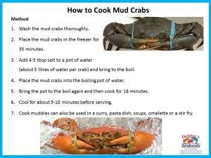 Simple instructions to how to cook mud crabs