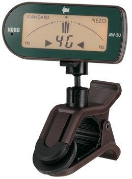 Korg AW-2U Ukulele Clip On Tuner (Compact Clip-On Uke Tuner) by Korg. $29.99. Korg's AW-2U is an excellent clip-on ukulele tuner. With its double ball-joint and adjustable-angle clip pad, you can easily clip it to a variety of different headstocks and position it into a comfortable spot for viewing. What's more, the tuner's display can swivel from side to side, so you an tune invisibly onstage, swivelling it behind your ukulele's headstock. The AW-2U features an in...