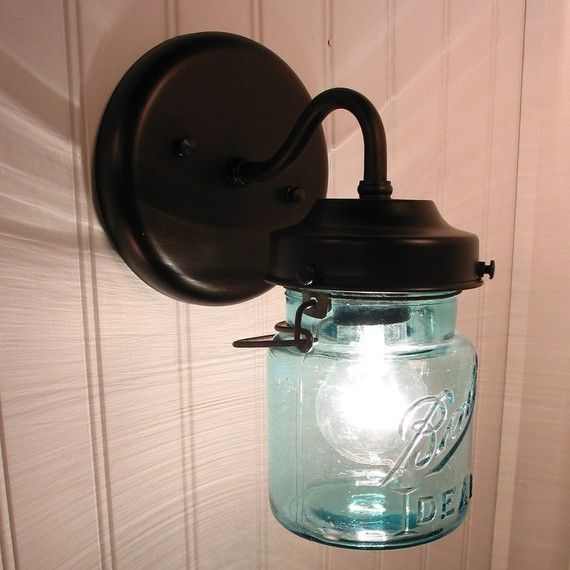 Vintage BLUE Canning Jar SCONCE Light by LampGoods on Etsy, $69.00