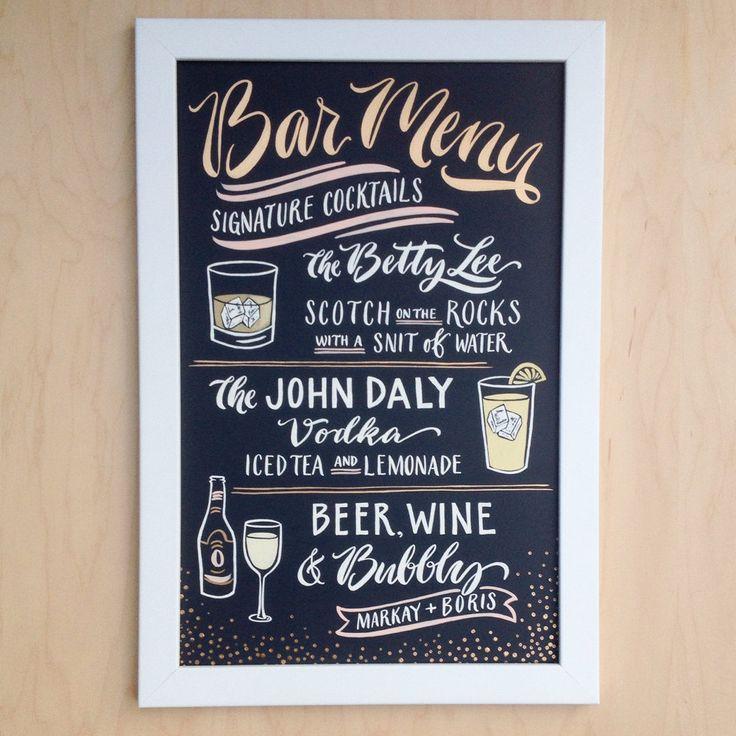 Bar menu with signature cocktails chalkboard bar