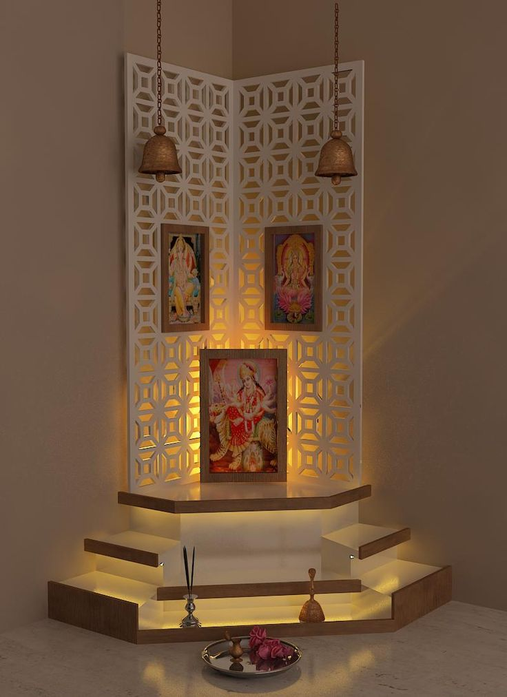 Best pooja room design by interior designer kamlesh for Modern home decor india