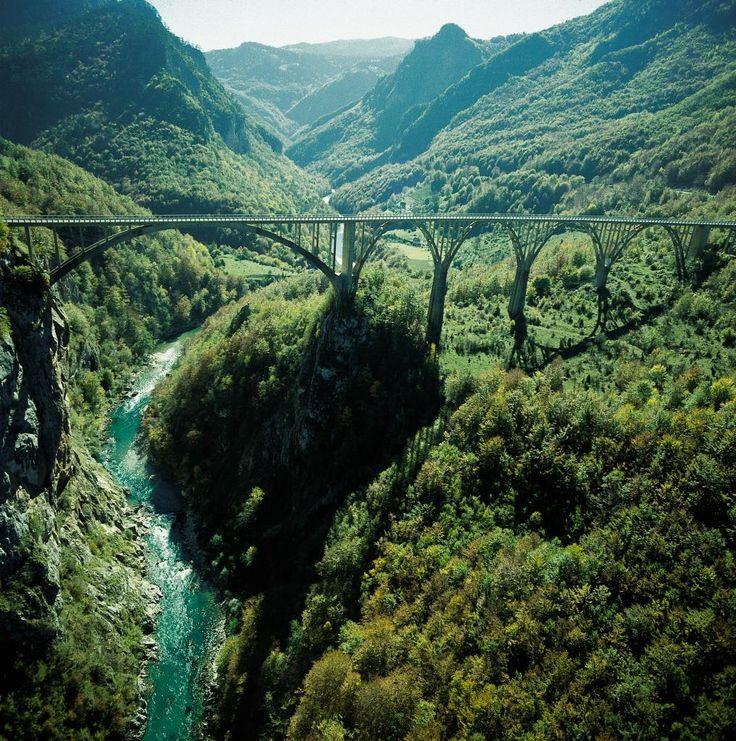 Bridge over canyon of the Tara river http://www.travelandtransitions.com/european-travel/