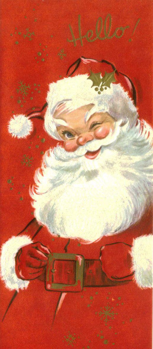Vintage Christmas Card, Unused, Santa Claus, Hello