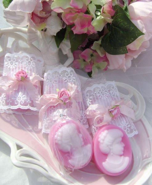Pretty pink cameo soaps
