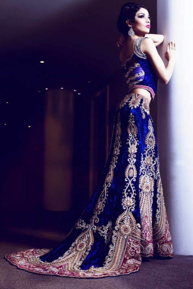 Love blue as a bridal colour.. And this is the perfect skirt shape #Lehanga http://www.lashkaraa.com/new-arrivals.html